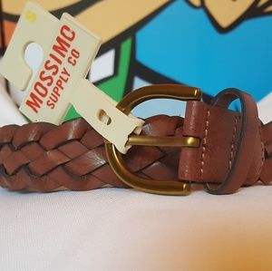 "Vegan Leather 1"" Brown Braided Belt up to 37"""